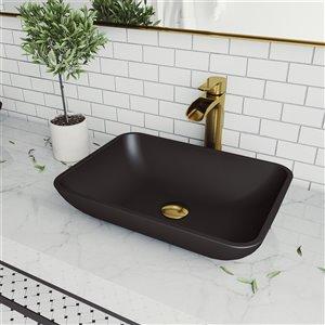 VIGO Sottile Matte Black Bathroom Sink - Matte Gold Faucet