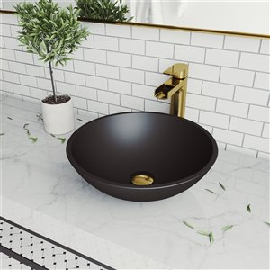 Lavabo de salle de bains noir mat Cavalli de VIGO, robinet or mat, 15 po