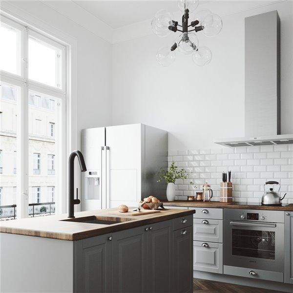 VIGO Oakhurst Pull-Down Kitchen Faucet with LED Light - Matte Black