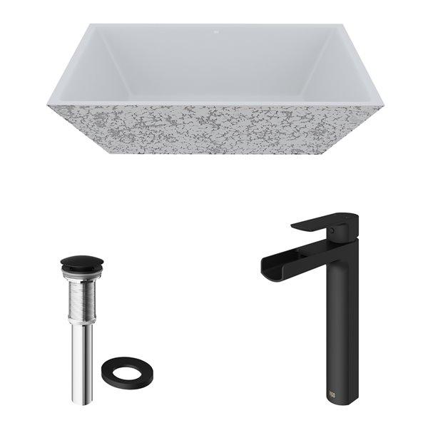 Lavabo de salle de bains gris cendré Calendula de VIGO, robinet noir mat, 18 po