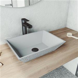 VIGO Calendula Light Grey Bathroom Sink - Matte Black Faucet