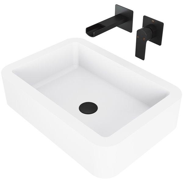 VIGO Petunia Matte White Bathroom Sink - Matte Black Faucet