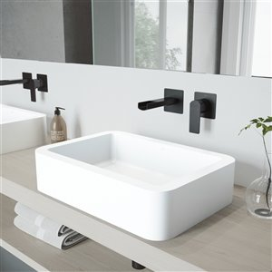 VIGO Petunia Matte White Bathroom Sink - Matte Black Faucet