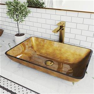 Lavabo de salle de bains cuivre Copper de VIGO, robinet or mat, 14,25 po