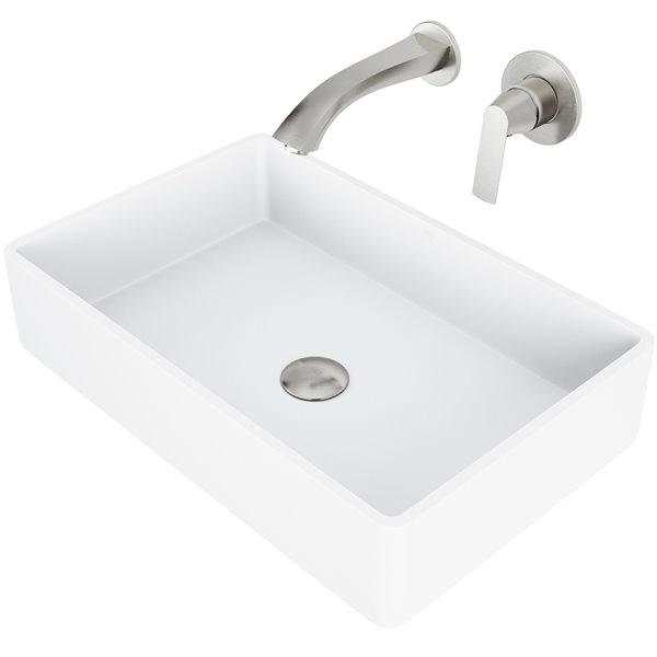 VIGO Magnolia Bathroom Sink with Brushed Nickel Faucet - 21.25-in - Matte White
