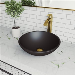 VIGO Cavalli Matte Black Bathroom Sink - 15-in - Matte Gold Faucet