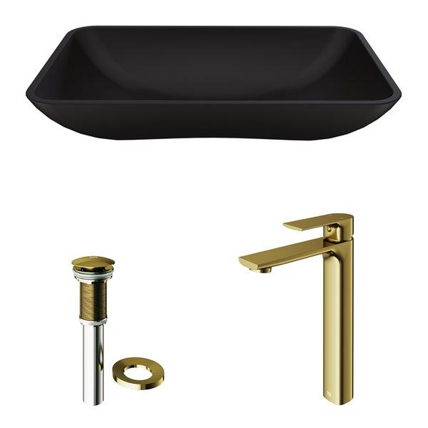 Lavabo de salle de bains noir mat Hadyn de VIGO, robinet or mat, 22,25 po