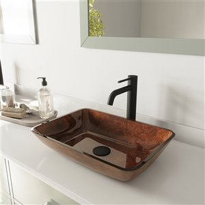 VIGO Russet Red and Brown Bathroom Sink - Matte Black Faucet