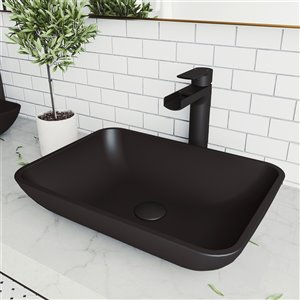 VIGO Sottile Matte Black Bathroom Sink - Matte Black Faucet