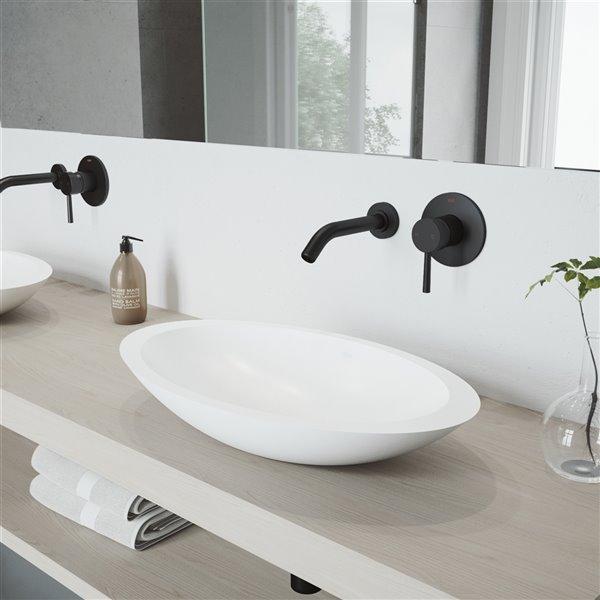 VIGO Wisteria Bathroom Sink - 23.13-in - Matte Black Faucet
