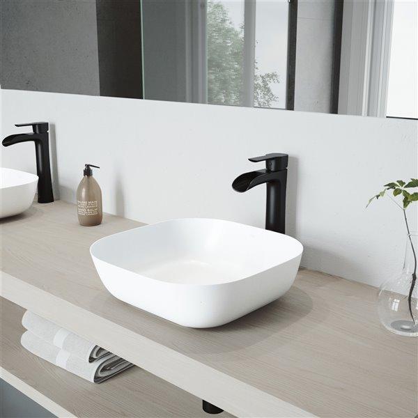 VIGO Camellia Bathroom Sink - 14.38-in - Matte Black Faucet