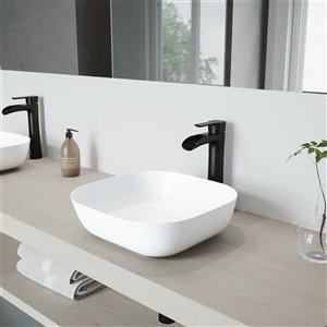 VIGO Camellia Bathroom Sink - 14.38-in - Matte Black Faucet