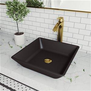 Lavabo de salle de bains noir Roma de VIGO, robinet or mat, 15,75 po