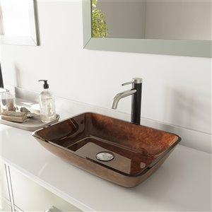 VIGO Russet Red and Brown Bathroom Sink - Brushed Nickel Faucet