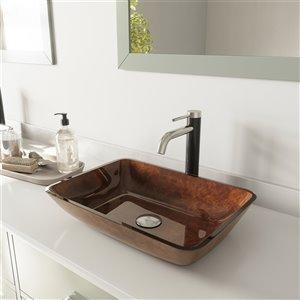 Lavabo de salle de bains brun rouge Russet de VIGO, robinet nickel brossé, 13 po
