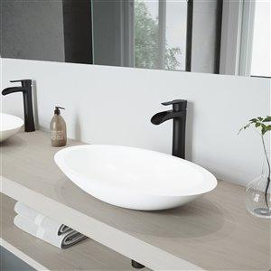 Lavabo de salle de bains blanc Wisteria de VIGO, robinet noir mat, 23,13 po