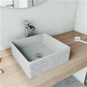 VIGO Aster Light Grey Bathroom Sink - Brushed Nickel Faucet