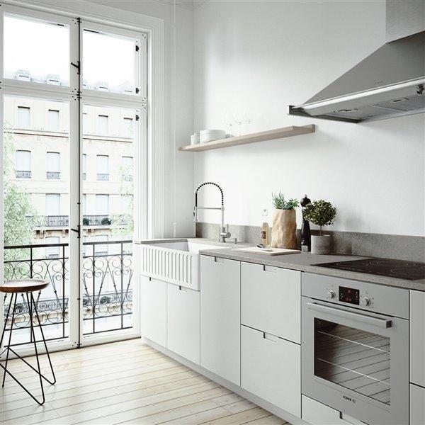 Évier de cuisine simple blanc mat Matte Stone de VIGO, 41 po x 24 po