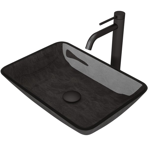 VIGO Onyx Grey Onyx Bathroom Sink - Matte Black Faucet