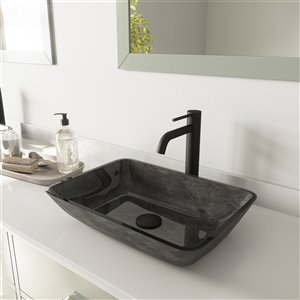 VIGO Onyx Grey Onyx Bathroom Sink - Matte Black Faucet
