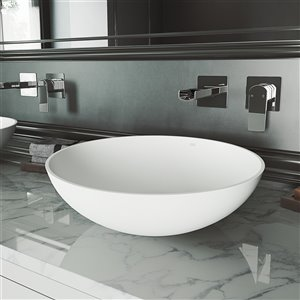 VIGO Lotus Bathroom Sink - 16-in - Matte White