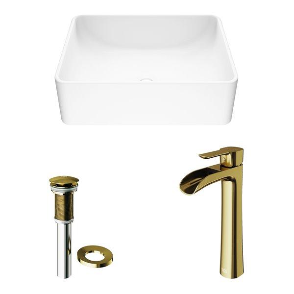 VIGO Amaryllis Matte White Bathroom Sink - Matte Gold Faucet