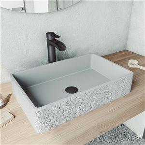 Lavabo de salle de bains gris cendré Dahlia de VIGO, robinet noir mat, 21,25 po