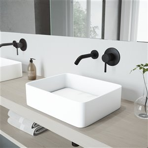 VIGO Jasmine Bathroom Sink with Matte Black Faucet - 18.18-in - White