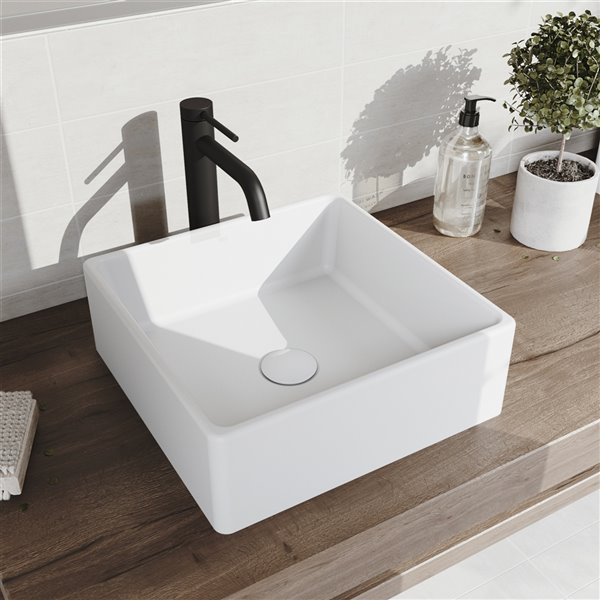 VIGO Dianthus Matte White Bathroom Sink - Matte Black Faucet