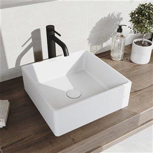 VIGO Dianthus Matte White Bathroom Sink - Matte Black Faucet