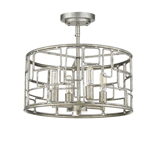 Luminaire suspendu convertible Amoret de Acclaim Lighting, 4 lumières, argent antique, 16 po