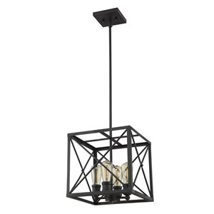 Acclaim Lighting Brooklyn Pendant Light with Metal Framework Shade 4-Light - Matte Black