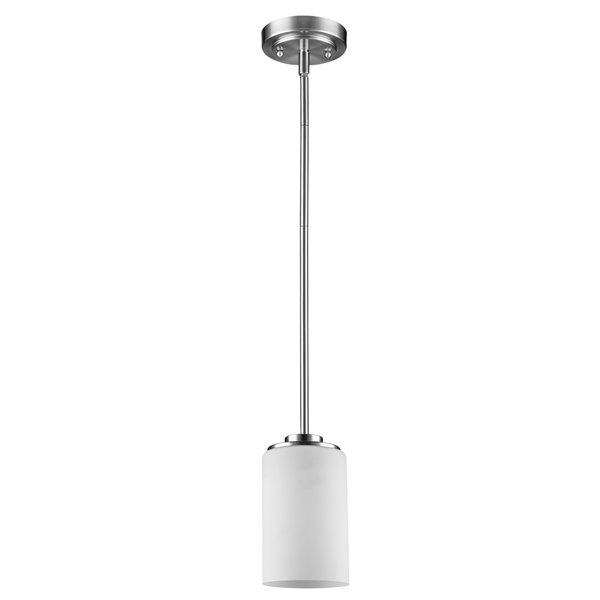 Acclaim Lighting Addison Mini Pendant Light with Glass Shade - 1-Light - Satin Nickel - 5-in