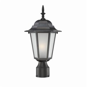 Acclaim Lighting Camelot 1-Light Post-Mounted Black Lantern with Frosted Glass