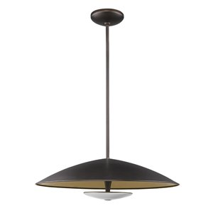 Acclaim Lighting Aurora LED Pendant Light in Oil-Rubbed Bronze with Antique Gold inside