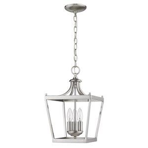 Luminaire suspendu Kennedy de Acclaim Lighting à 3 lumières en fini nickel satiné