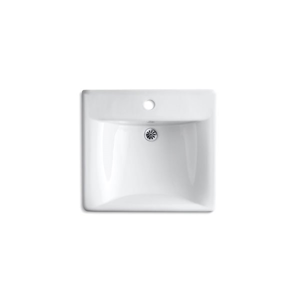 KOHLER Soho Wall-Mount Arm Carrier Sink with One Faucet Hole - 20x 18-in - White