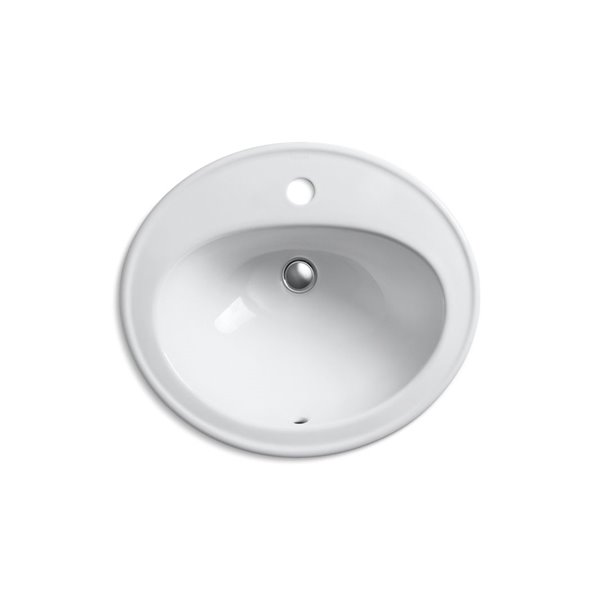 KOHLER Pennington Drop-In Bathroom Sink with Single Faucet Hole - Grey
