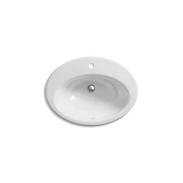 Lavabo de salle de bain encastré avec trou unique de robinet Thoreau, blanc