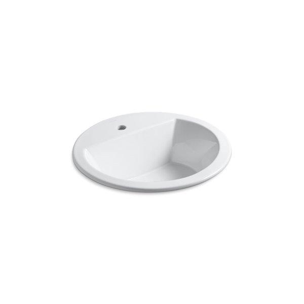 Lavabo encastré rond avec robinet à trou unique Bryantde KOHLER, blanc