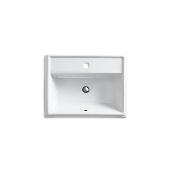 Lavabo encastré rectangulaire avec trou unique Tresham de KOHLER, blanc
