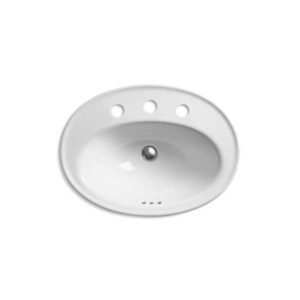 KOHLER Serif Drop-In Bathroom Sink with Widespread Faucet Holes - 16-in - White