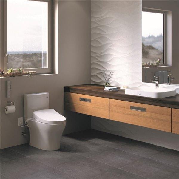 Siège de toilette avec bidet électronique Washlet S550e de TOTO, coton blanc