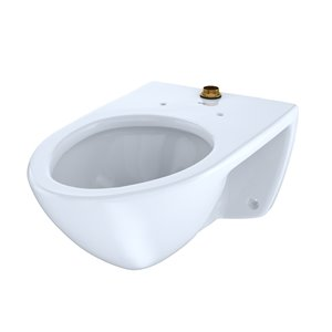 TOTO Flushometer Elongated Wall-Mount Toilet Bowl - Cotton White