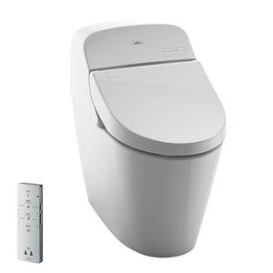Toilette à cuvette allongée Washlet de TOTO, hauteur standard, blanc coton