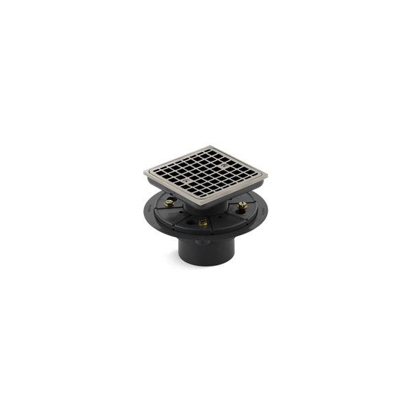 KOHLER ClearFlo Shower Drain - Square - Brushed Nickel
