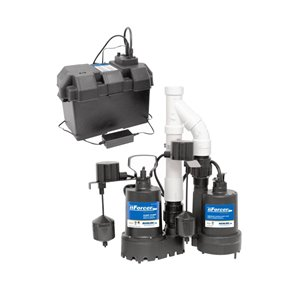 nForcer Thermoplastic Sump Pump with Pre-Assembled Back-Up Kit - 1/3 HP