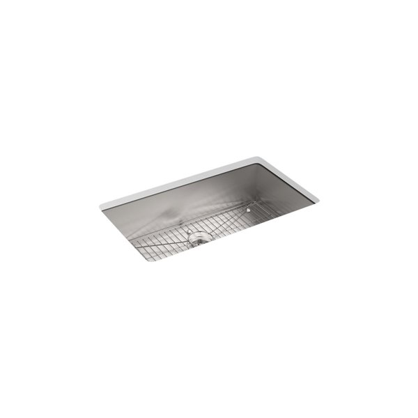 Évier de cuisine KOHLER Vault installation surface/sous comptoir avec 4 trous de robinet, 33po