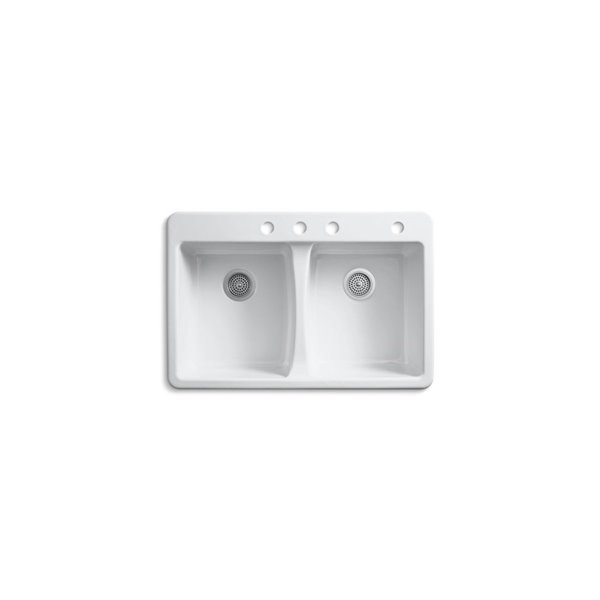 KOHLER Deerfield Top-Mount Kitchen Sink with 4 Faucet Holes - White - 33-in