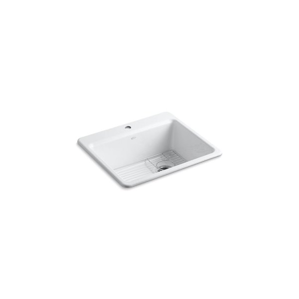 KOHLER Riverby Top-Mount Kitchen Sink - Single Faucet Hole - White - 25-in